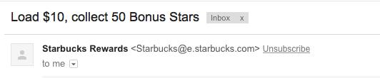 Starbucks emails