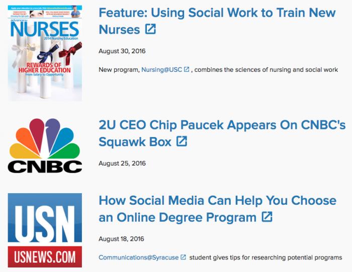 SaaS company 2U uses social proof