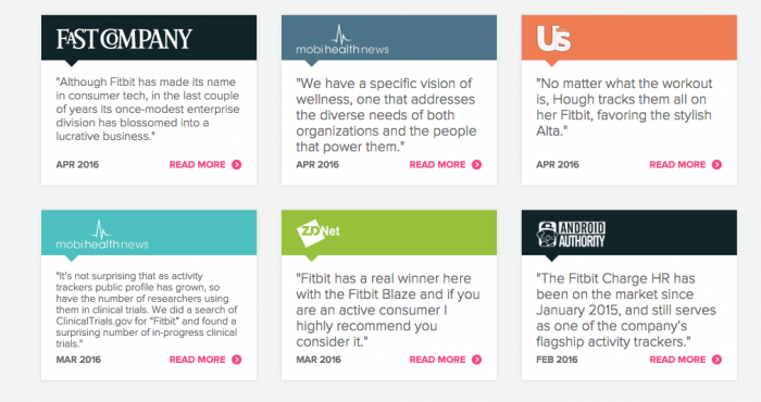 Fitbit, the famous fitness watch company, uses expert opinion to build trust with their brand by putting big publication mentions on their website.