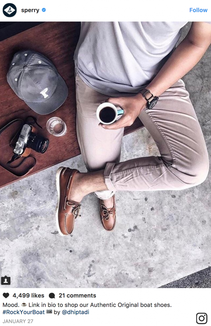 the shoe company Sperry took a picture of an influencer wearing their shoes to create social proof.
