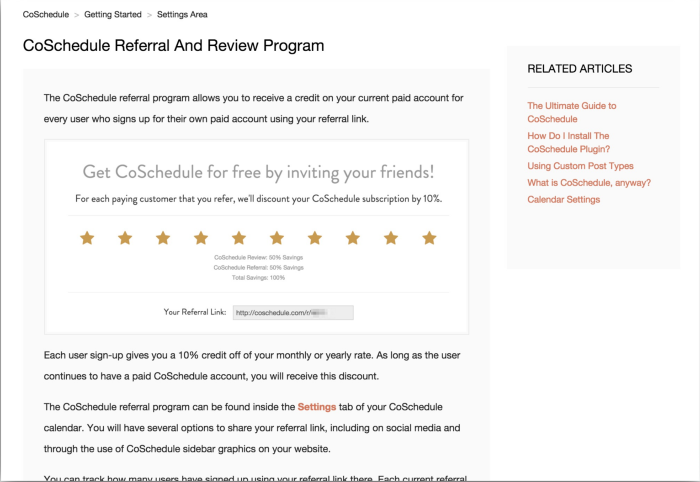 Coschedule's refer a friend campaign